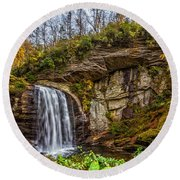 Looking Glass Falls 1 Round Beach Towel