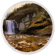 Looking Glass Falls Pisgah National Forest 2 Round Beach Towel