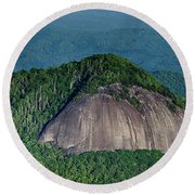 Looking Glass Rock Mountain In North Carolina Round Beach Towel