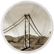 Looking North At The Golden Gate Bridge Under Construction With No Deck Yet 1936 Round Beach Towel