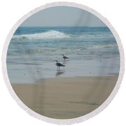 Looking Out Into The Sea Round Beach Towel