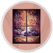 Looking Out My Window Digital Round Beach Towel