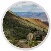 Looking Out Over The Hills Round Beach Towel