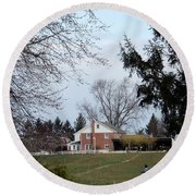 Looking Out Over The Horse Farm Round Beach Towel