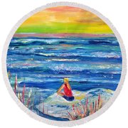 Looking Out Round Beach Towel