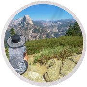 Looking Panorama At Glacier Point Round Beach Towel
