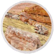 Looking Skyward From Wash 3 In Valley Of Fire Round Beach Towel