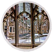 Looking Through An Arched Window At Princeton University At The Courtyard Round Beach Towel