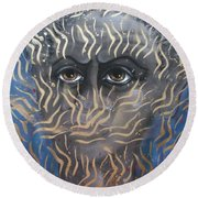 Looking Through Fire Round Beach Towel