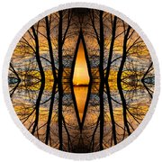 Looking Through The Trees Abstract Fine Art Round Beach Towel
