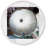 Looking Thru A Pipe...negative Round Beach Towel
