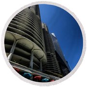 Looking Up At Chicago's Marina Towers Round Beach Towel