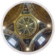 Looking Up In St Peter's Basilica Round Beach Towel