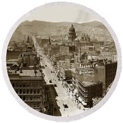 Looking Up Market Street From The Call Building With City Hall Circa 1900 Round Beach Towel