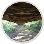 Looking Up Nevins Bridge Indiana Round Beach Towel