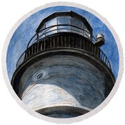 Looking Up Portland Head Light Round Beach Towel