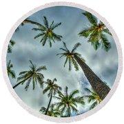 Looking Up The Hawaiian Palm Tree Hawaii Collection Art Round Beach Towel