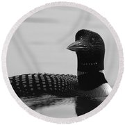 Loon In Calm Waters In Black And White Round Beach Towel