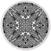 Loops Black And White No. 1 Round Beach Towel