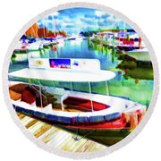 Loose Cannon Water Taxi 1 Round Beach Towel by Lanjee Chee