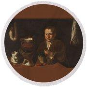 Lopez Caro, Francisco 1598, 1661 Kitchen Boy Ca. 1620 Round Beach Towel