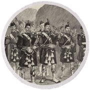 Lord Archibald Campbell And His Pipers Marching Through The Pass Of Glencoe Round Beach Towel