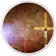 Lord Have Mercy - Crucifixion Of Jesus -2011 Round Beach Towel