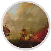 Lord Howe And The Comte Destaing Off Rhode Island Round Beach Towel by Robert Wilkins