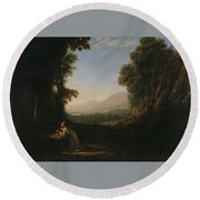 Lorena, Claudio De Chamagne, 1600 - Roma, 1682 Landscape With Saint Mary Of Cervello Ca. 1637. Round Beach Towel