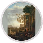Lorena, Claudio De Chamagne, 1600 - Roma, 1682 Landscape With The Burial Of Saint Serapia Ca. 1639 Round Beach Towel