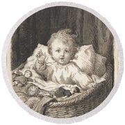 Lorenz Frolich Danish, Copenhagen 1820-1908 Hellerup, Child In A Crib Round Beach Towel