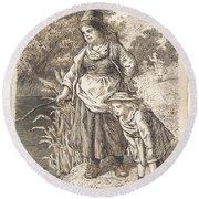 Lorenz Frolich Danish, Copenhagen 1820-1908 Hellerup, Three Little Girls In A Room Arguing And Spi Round Beach Towel
