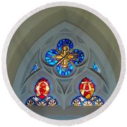 Loretto Chapel Stained Glass Round Beach Towel