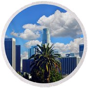 Los Angeles And Palm Trees Round Beach Towel