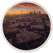 Los Angeles At Sunset Round Beach Towel