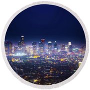 Los Angeles By Night Round Beach Towel