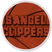 Los Angeles Clippers Leather Art Round Beach Towel