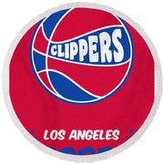 Los Angeles Clippers Vintage Basketball Art Round Beach Towel