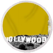 Los Angeles Skyline Hollywood - Gold Round Beach Towel