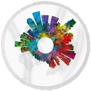 Los Angeles Small World Cityscape Skyline Abstract Round Beach Towel