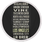 Los Angeles Vintage Places Poster Round Beach Towel
