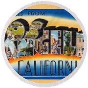 Los Angeles Vintage Travel Postcard Restored Round Beach Towel