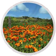 Los Olivos Poppies Round Beach Towel