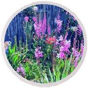Los Osos Flower Garden Round Beach Towel