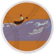 Lost In Storm Round Beach Towel