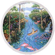 Lost In The Amazon Round Beach Towel