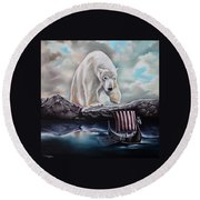 Lost In The World Of Giants Round Beach Towel