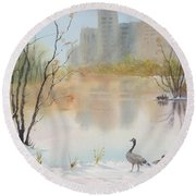 Lost Lagoon In Snow Round Beach Towel