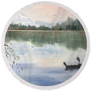 Lost Lagoon With Blue Heron Round Beach Towel