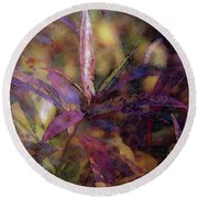 Lost Leaves Decorated In Purple 6003 Ldp_2 Round Beach Towel